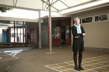 Westmere Primary School principal Carolyn Marino in front of some of the school buildings to be replaced.