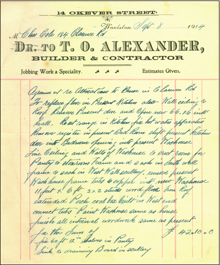 Building Order for Thomas Oates Alexander 1914