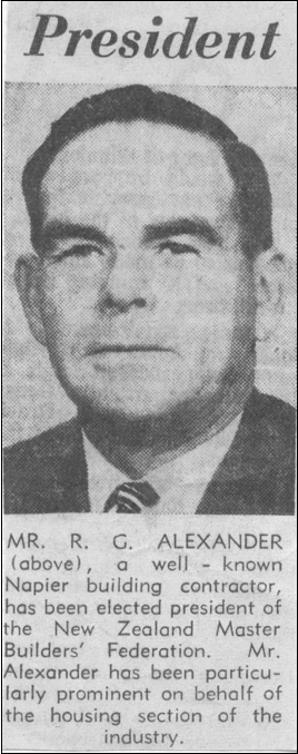 Newspaper clipping of R G Alexander