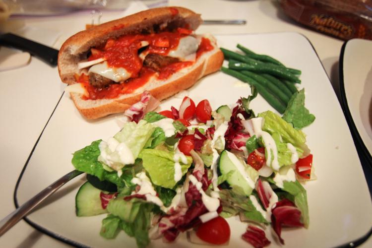 Farmer's Market Hot Italian Sausage + Marinara and Provolone Subs + Cranberry/Cherry Tomato/Cucumber Salad