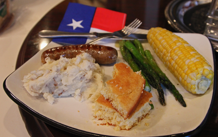 Farmer's Market Sausage + Mashed Potatoes + Corn on the Cob + Asparagus + Corn Bread