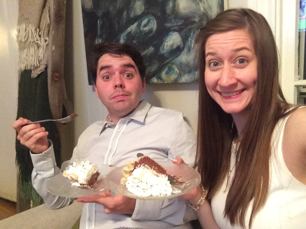 Enjoying our anniversary pie last year: the beginning of year 4.