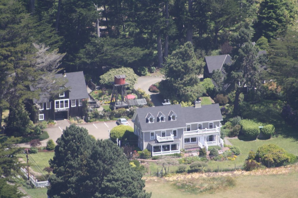 from the air, a bird's eye view of the Glendeven Inn Mendocino ocean-view estate
