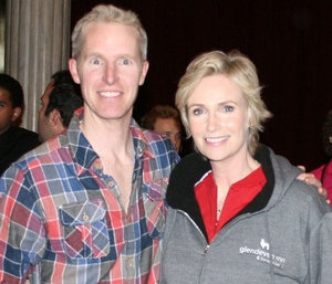 Jane Lynch with her new Glendeven Inn jacket