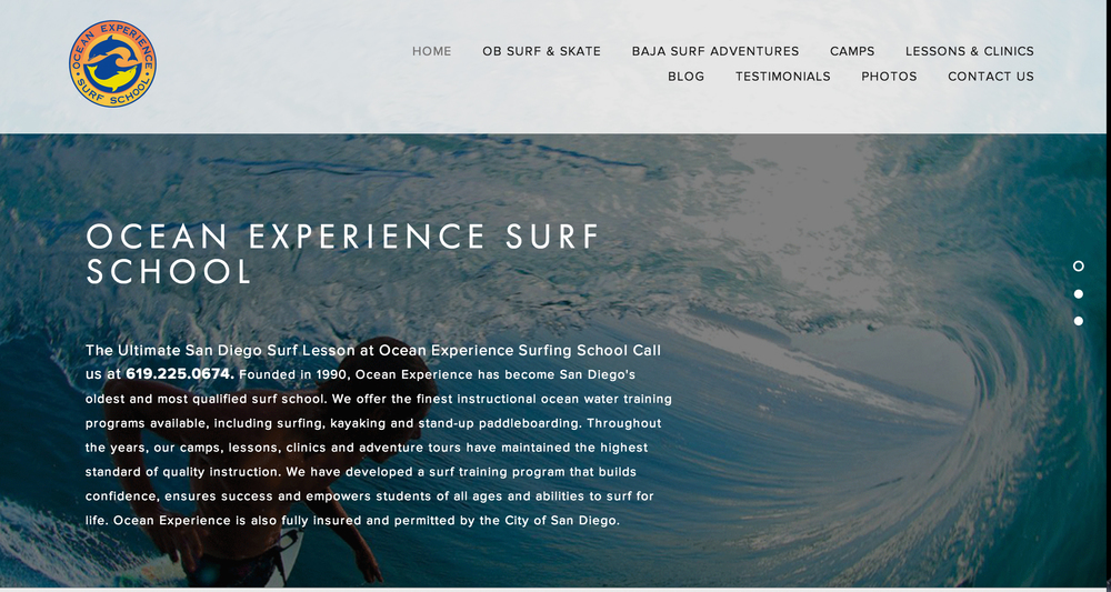 This Squarespace site was created for Ocean Experience.Founded in 1990, Ocean Experience has become San Diego's oldest and most qualified surf schooloffering the finest instructional ocean water training programs available.