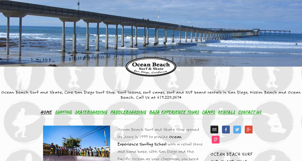 This Squarespace site was created for Ocean Beach Surf and Skate Shop. OB Surf and Skateopened its doors in 1999 to provideOcean Experience Surfing Schoolwith a retail store and home base.