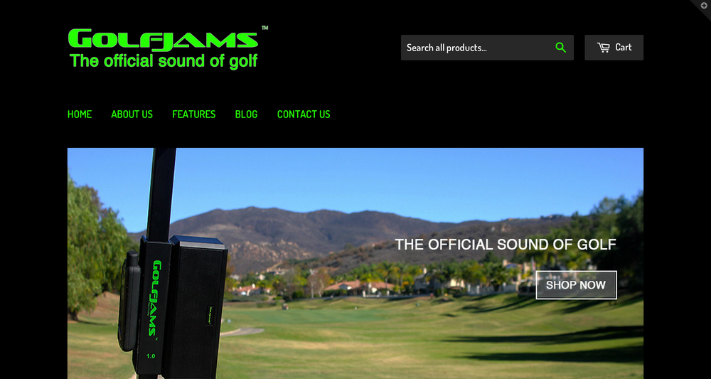 This Shopify website was created for Golfjams. The Golfjams bluetooth speaker is a day-to-day accessory designed for use on the golf course.