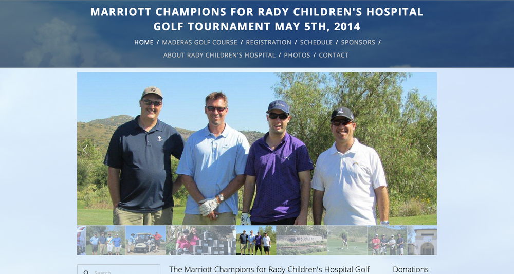 This Squarespace site was created for the Marriott annual charity golf tournament.The tournament is insupport of the Children's Miracle Network, benefitting Rady Children's Hospital, San Diego's only non-profit, pediatric-care facility dedicated to excellence in care, research and teaching.