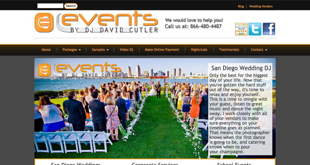This Drupal website is for Events by Dj David Cutler.David is the best in San Diego hands down!!! He is so professional and really wants to work to make the happy even happier.