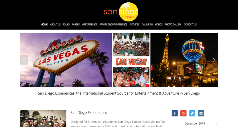 This Squarespace website is for San Diego Experiences. Designed for international students, San Diego Experiences is the perfect way for you to experience California, meet other international students, and have a great time!