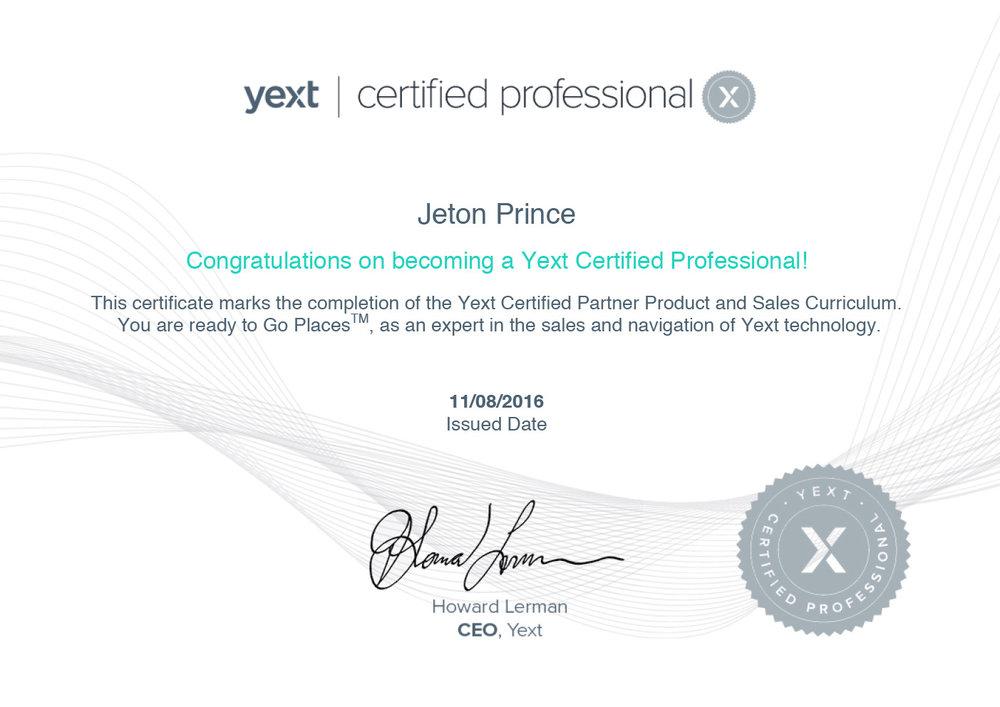 yext certified professional