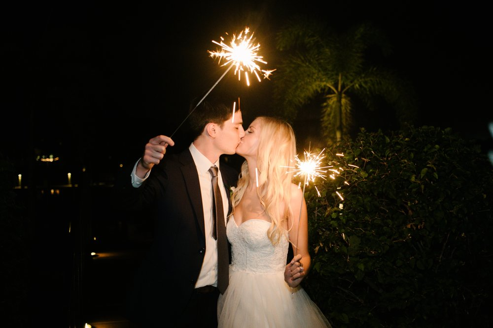 Linebaugh Avenue Backyard Wedding Grand Exit Sparklers Tampa