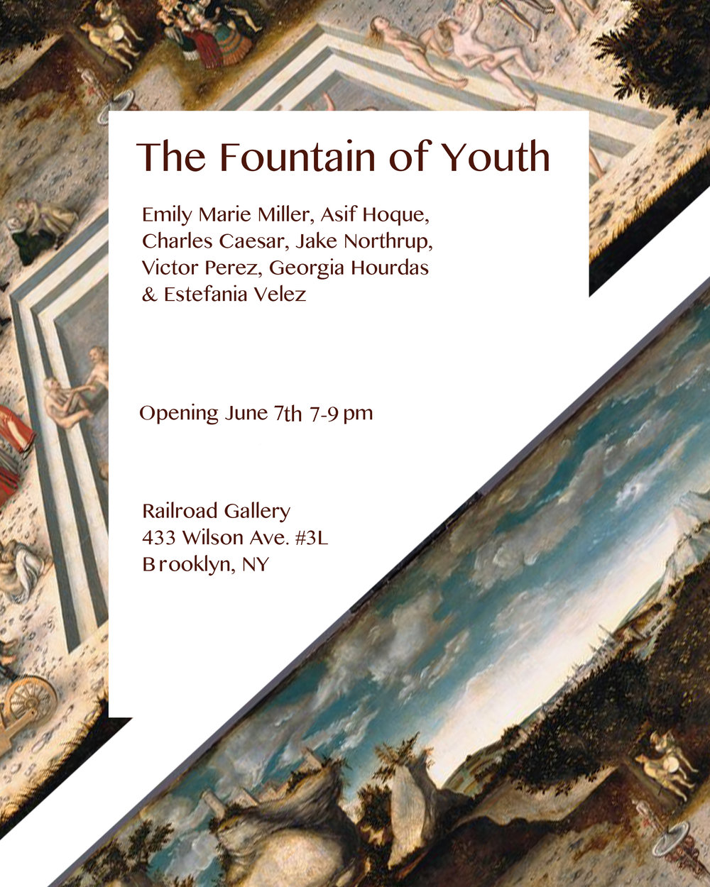 I recently curated and organized  The Fountain of Youth . Thank you to the wonderful artists who participated and co-organized this exhibition: Georgia Hourdas, Jake Northrup, Estefania Velez, Charles Caesar, Victor Perez, and Asif Hoque.