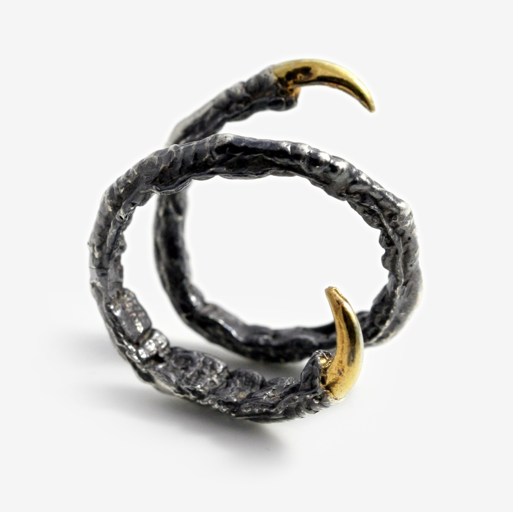 Oxidised Silver twist ring with Gold Vermeil