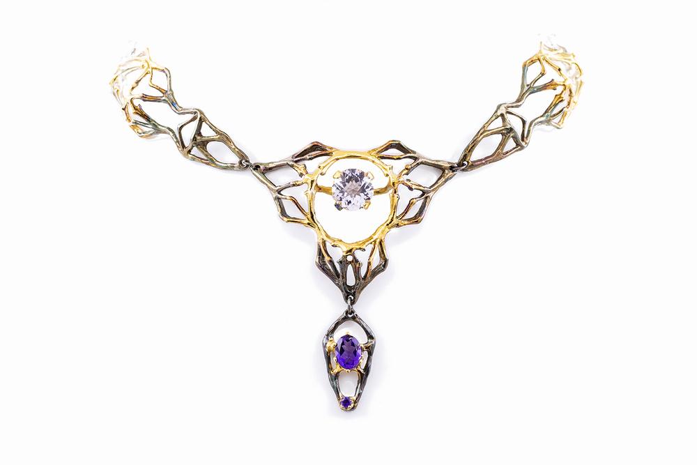 Ellipse Choker, sterling silver, amethysts, gold vermeil, patina, 2015