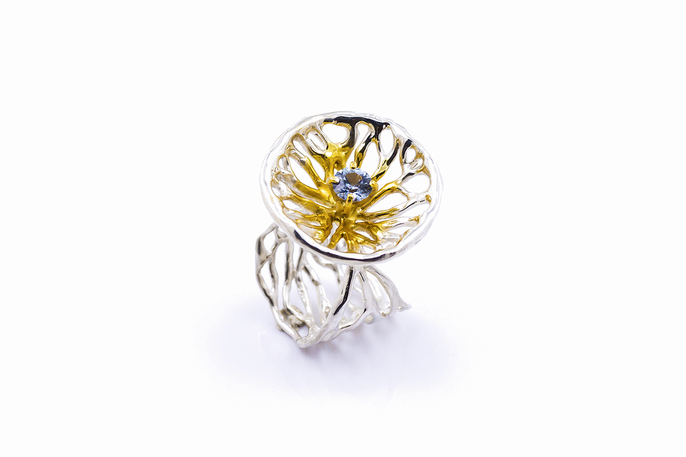 Ellipse Ring, sterling silver, sapphire, gold vermeil, 2015