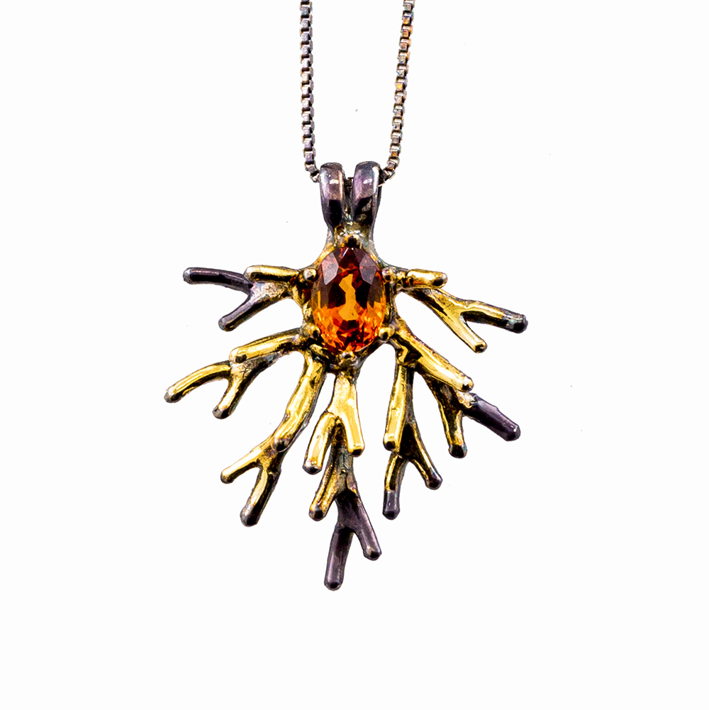 Unfolding Pendants created in sterling silver and set with garnet,topaz,orange sphalerite and moonstone, 2015