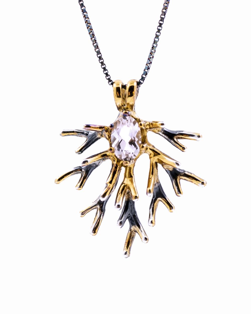 Unfolding Pendant, sterling silver, morganite, gold vermeil, patina 2015