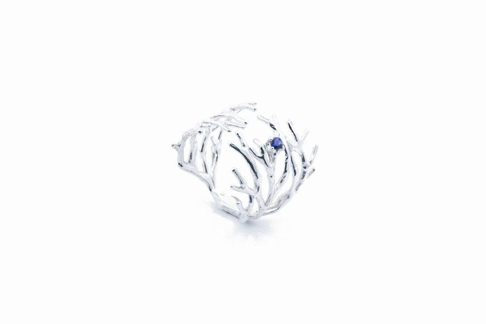 Dendrite RingSterling silver, blue sapphire