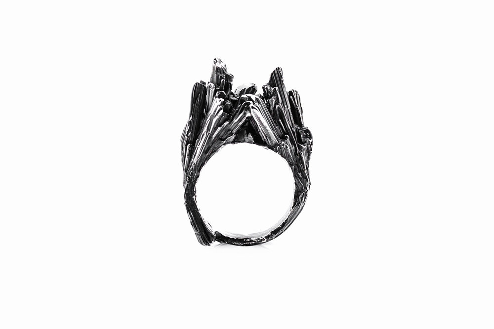 Namazu RingOxidised sterling silver