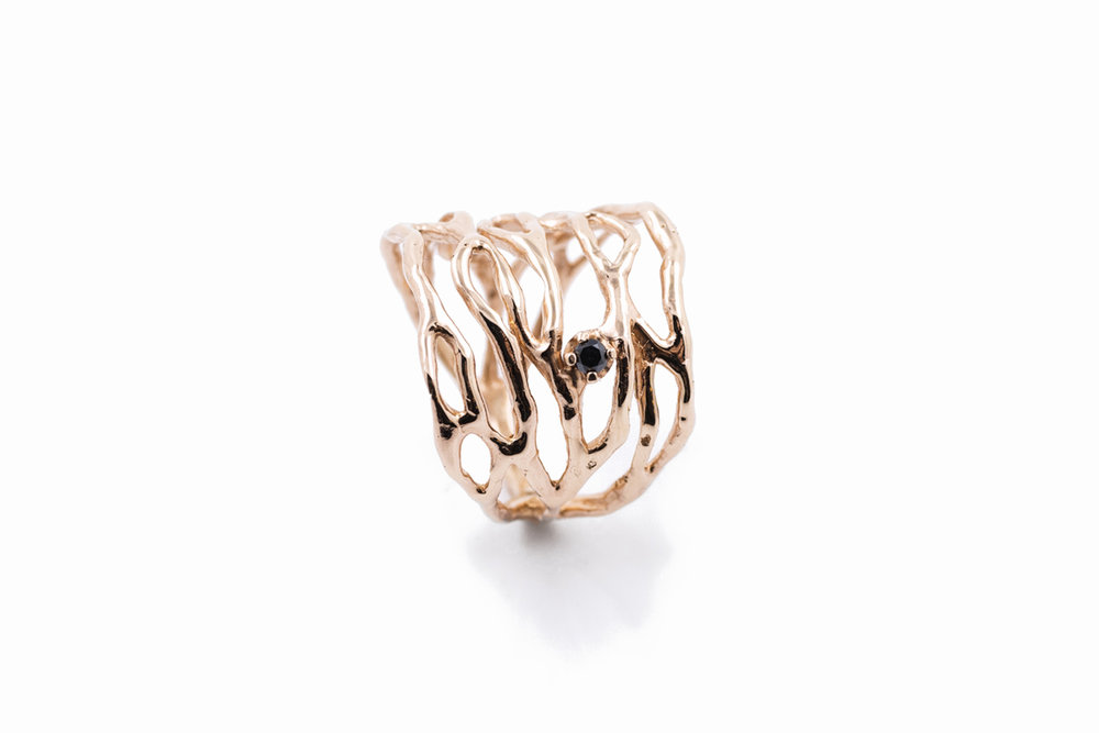 Cajal RING9ct rose gold + black diamond