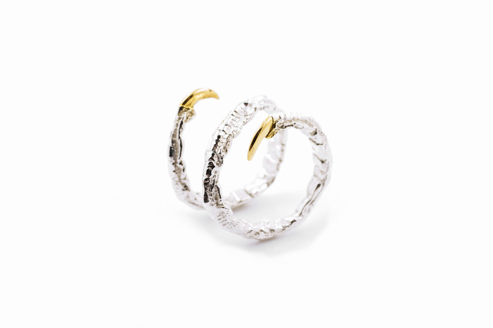 Twist RingSterling silver, gold vermeil