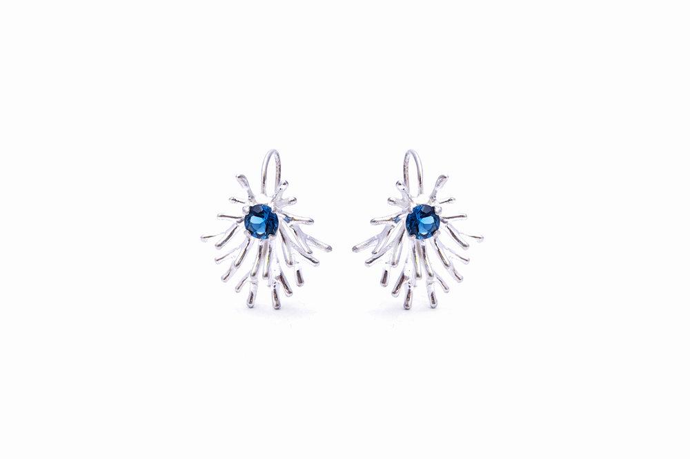 Astrocyte Earrings sterling silver + topaz