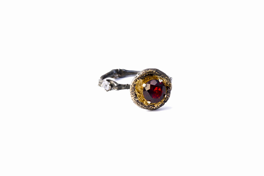 Surfacing Ring darkened sterling silver + garnet + white sapphire + gold vermeil