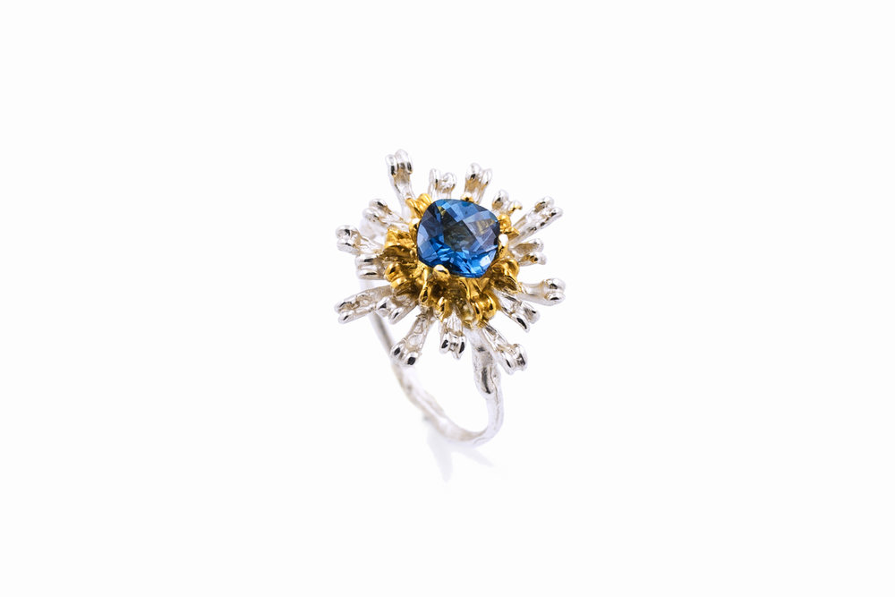 THE FLOWERS REMAINING RingSterling silver, topaz, gold vermeil