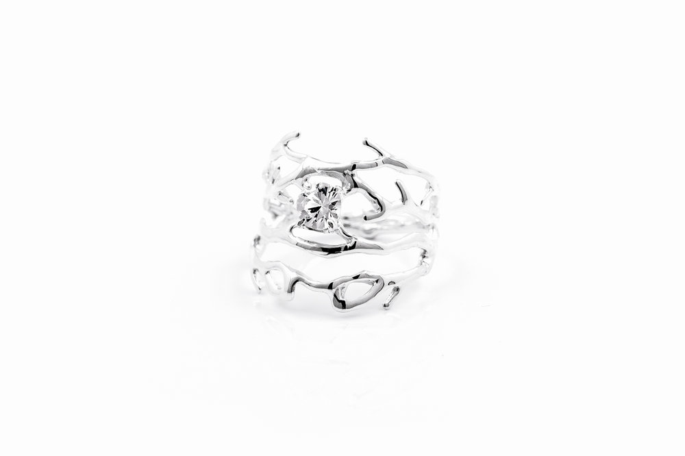 Purkinje RINGSterling silver, white sapphire