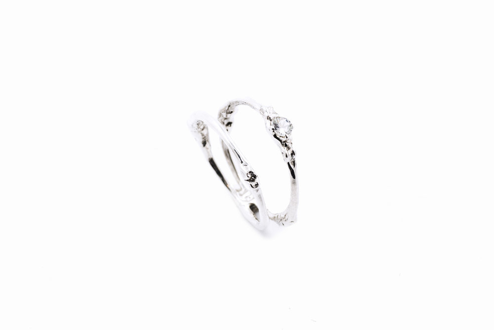 Towers Double Band sterling silver, white sapphire