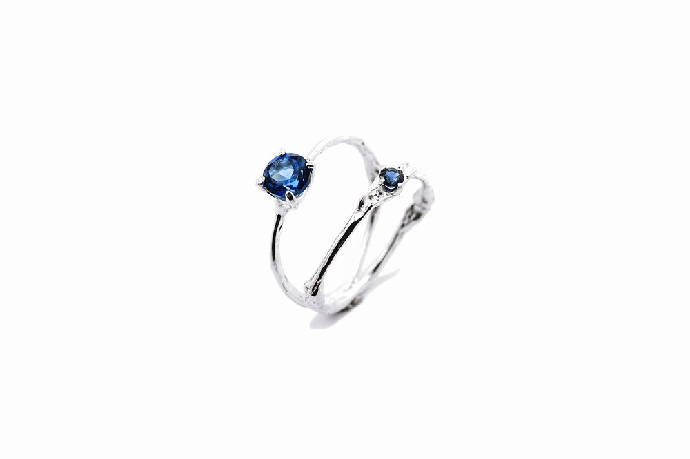 Towers Double Band sterling silver, topaz, blue sapphire