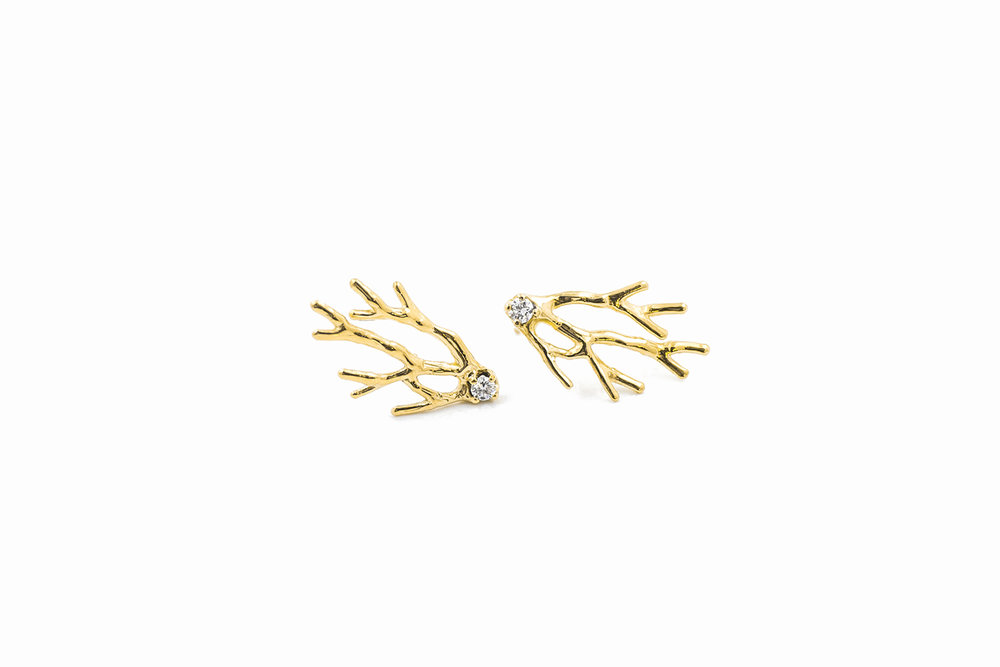 Dendrite Earrings18ct yellow gold + white diamonds