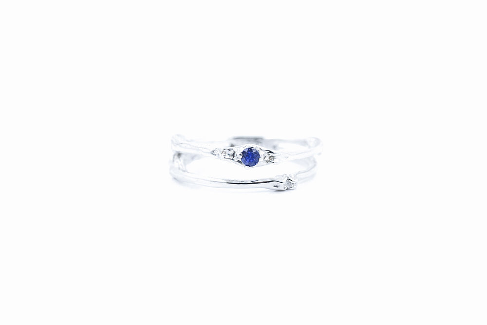 Towers Double Band sterling silver, blue sapphire
