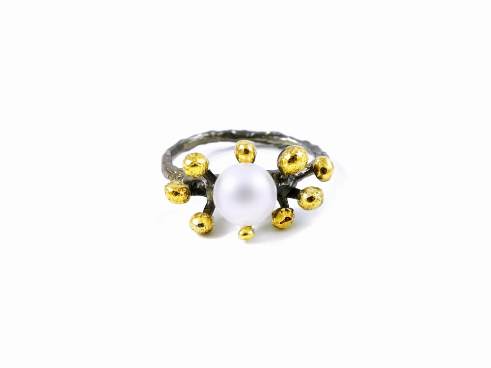 September RingSterling silver, pearl, gold vermeil, patina