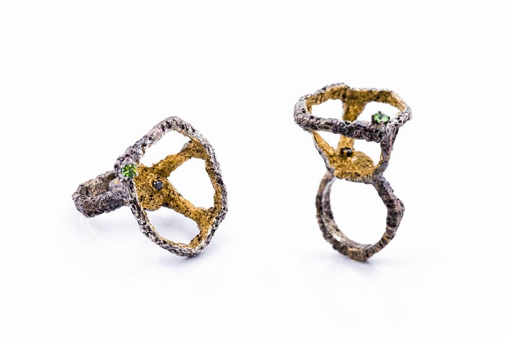 Open FRAGMENT RINGsterling silver, tsavorite, black diamond, gold vermeil, patina