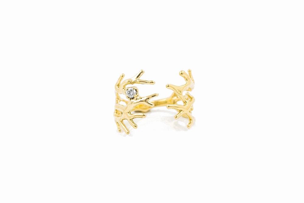 DENDRITE RING18ct yellow gold, white diamond