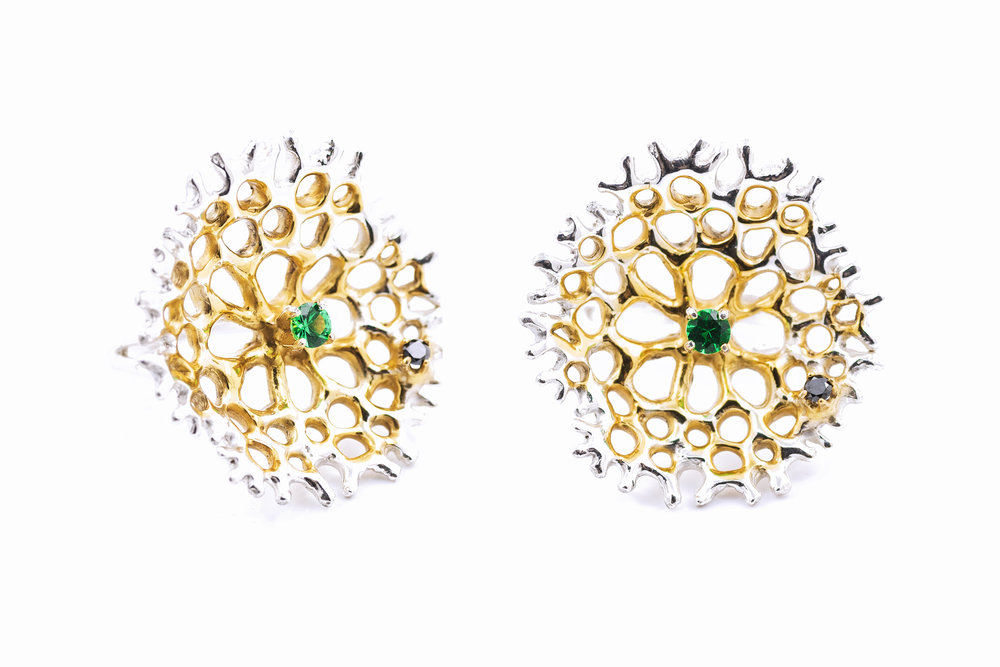 Radial RINGSterling silver, tsavorite, black diamond, gold vermeil