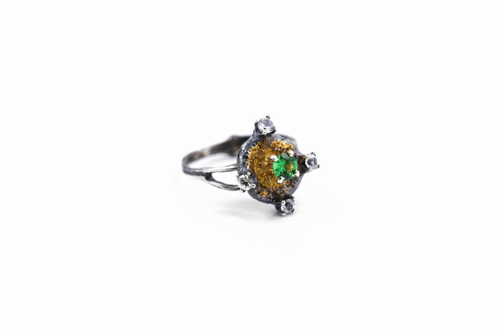 Fluorophore RINGSterling silver, tsavorite, white sapphires, gold vermeil, patina