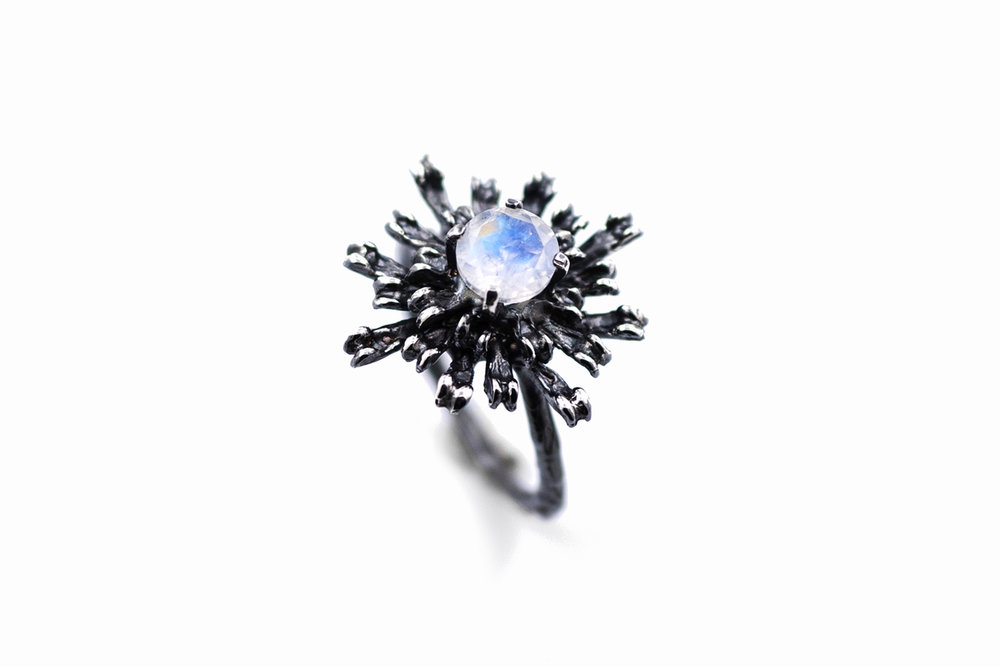 THE FLOWERS REMAINING RingSterling silver, moonstone