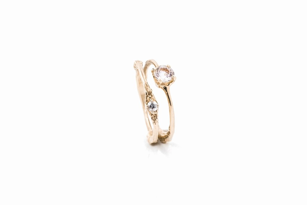 Towers Double Band9ct rose gold, morganite, white sapphire