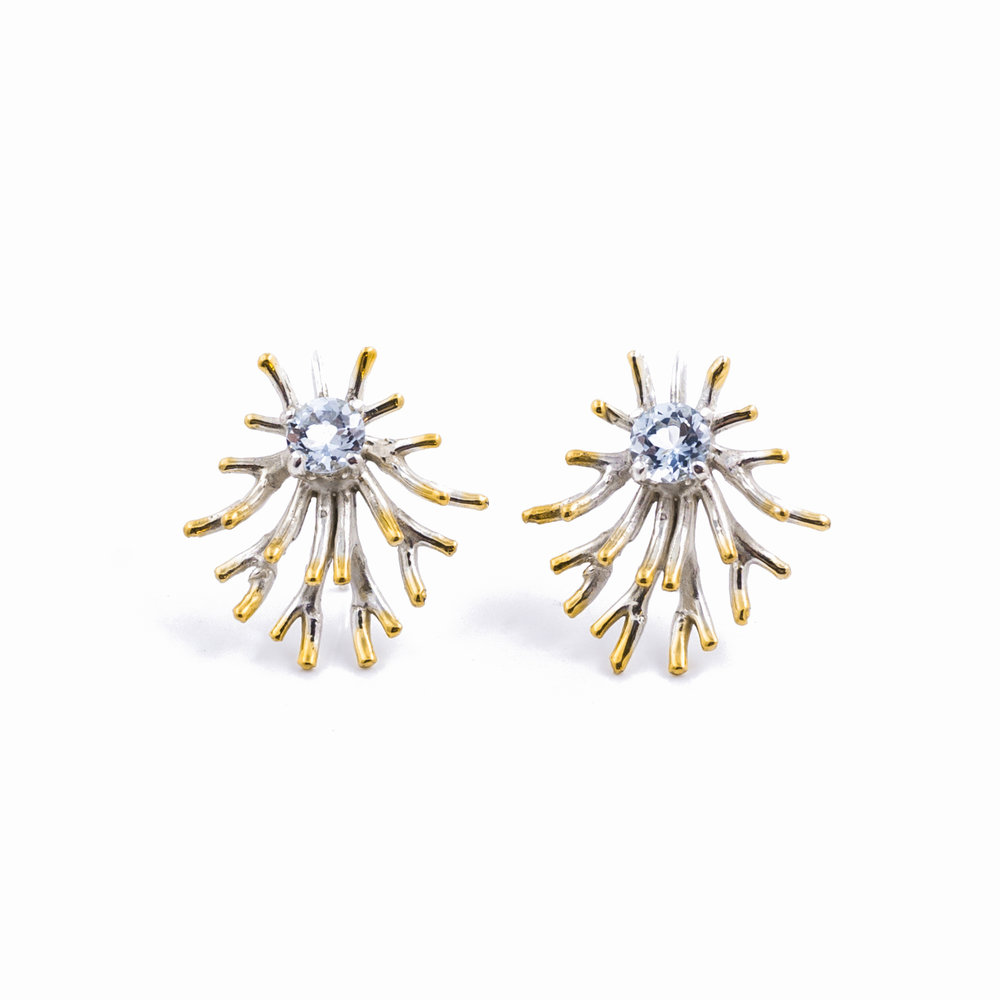 Astrocyte Earrings:  Sterling silver, aquamarine, gold vermeil.