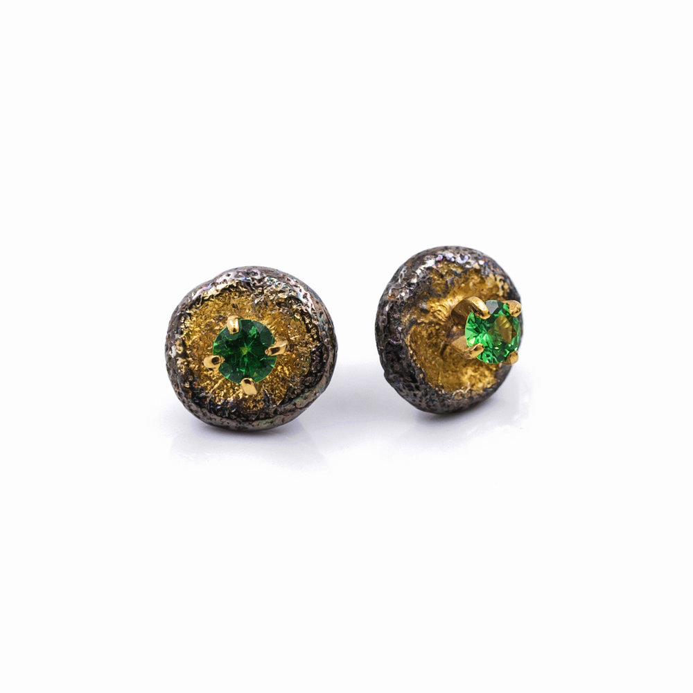 Bouton Earrings Sterling silver, tsavorite, gold vermeil, patina