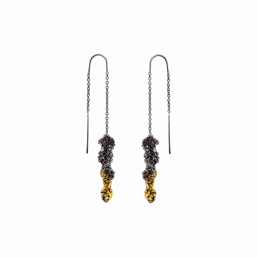 Spire Earrings Sterling silver, gold vermeil, patina