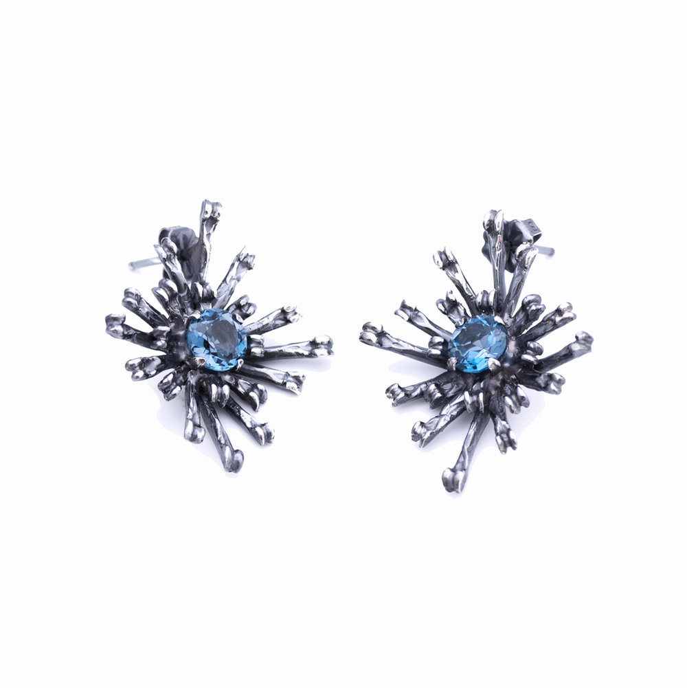 The Flowers Remaining Earrings | Tall  Darkened sterling silver, topaz