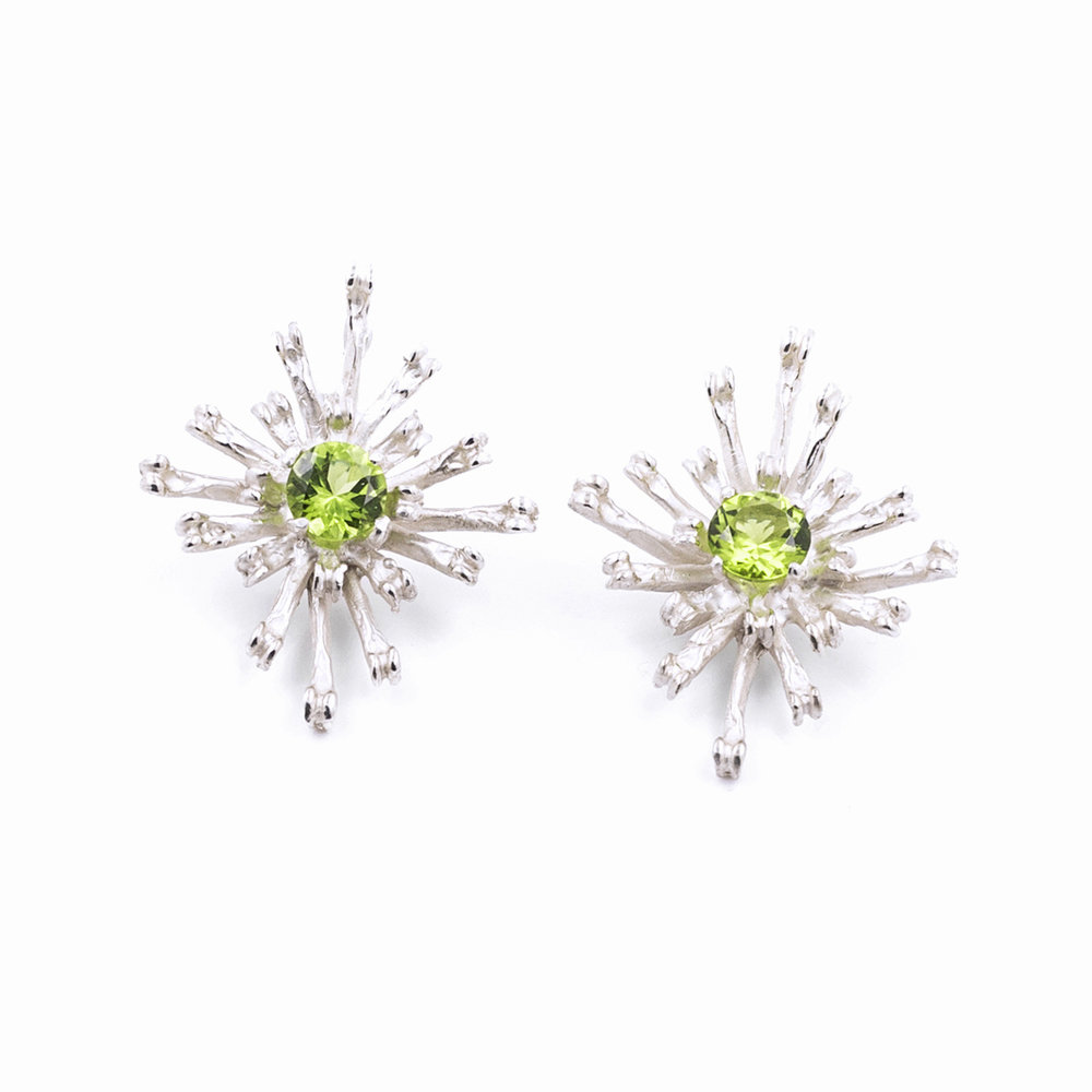The Flowers Remaining Earrings | Tall Sterling silver, peridot