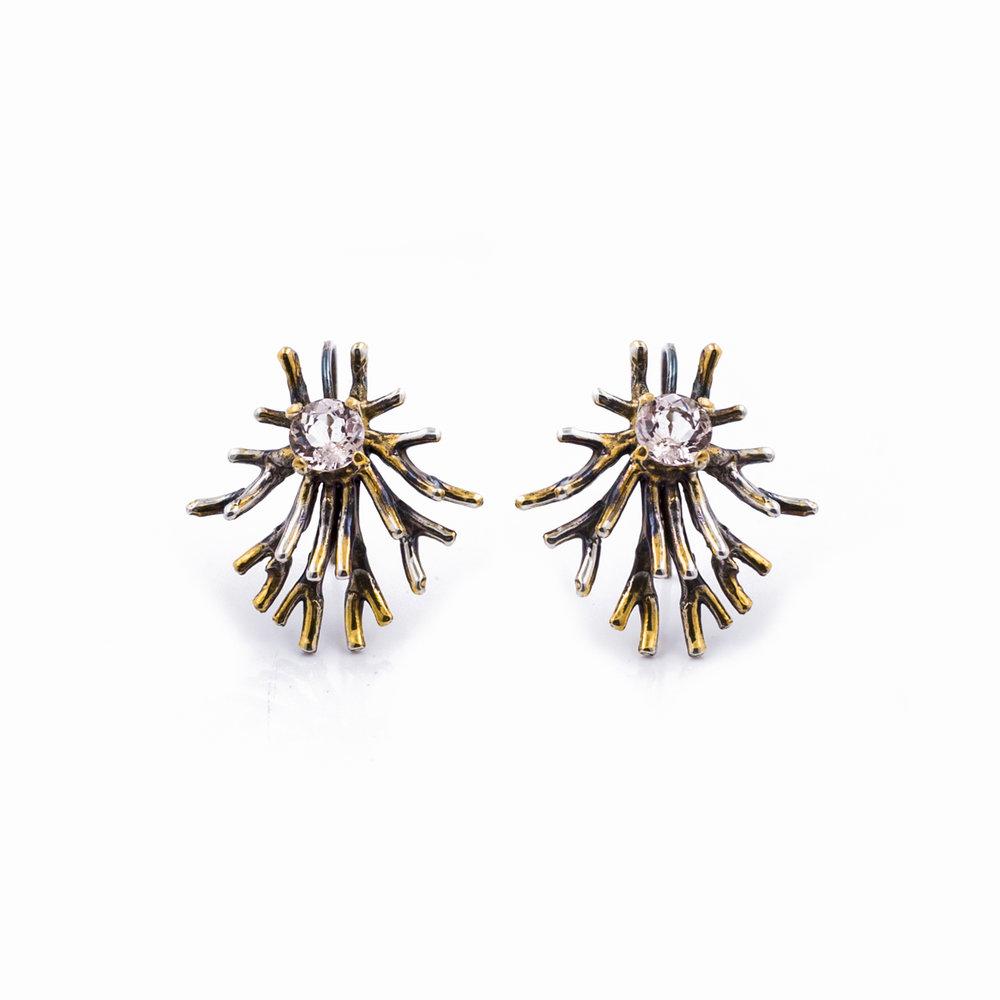 ASTROYCTE EARRINGS    Sterling silver, morganite, gold vermeil, patina