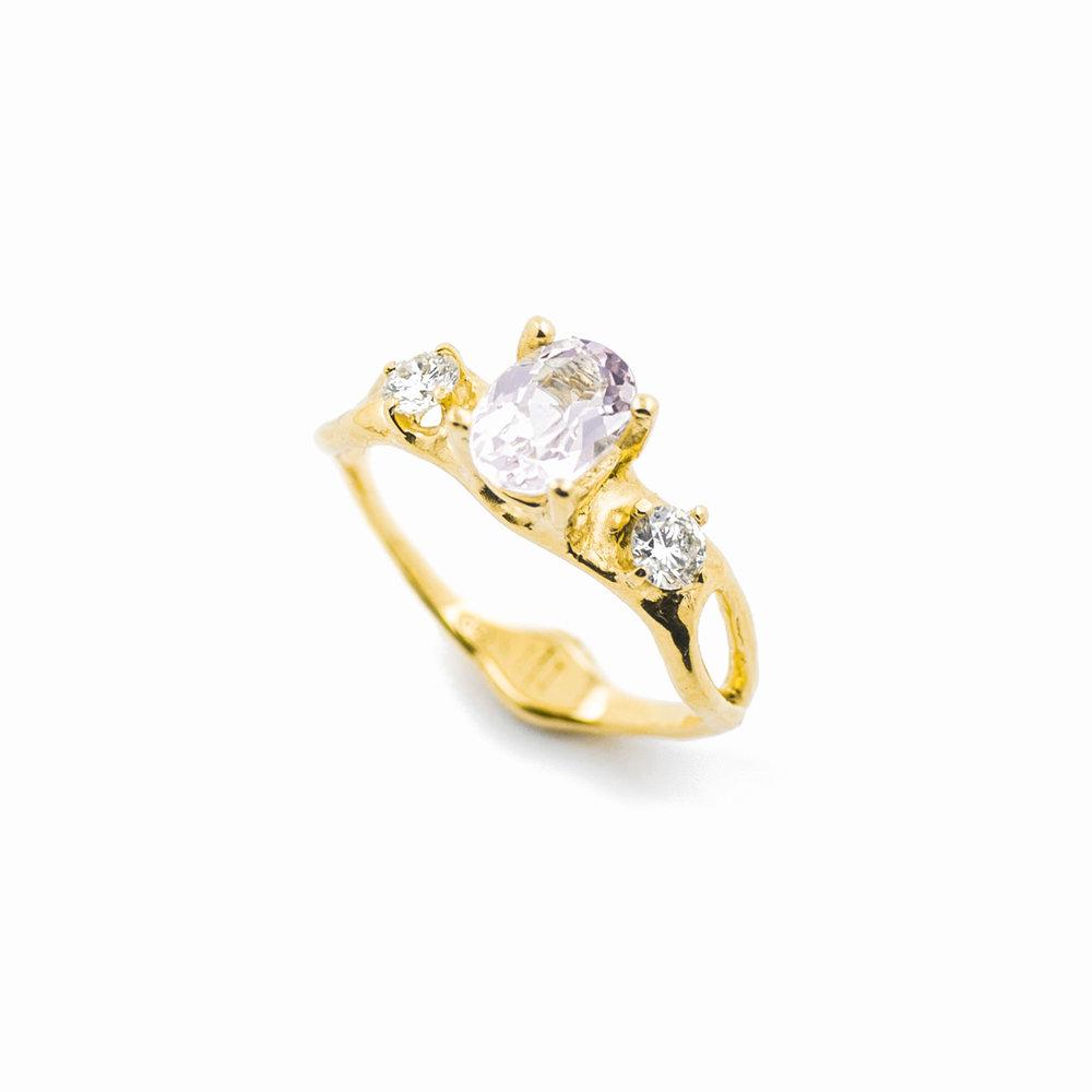 Unfolding Engagement Ring18ct yellow gold, morganite, white diamonds