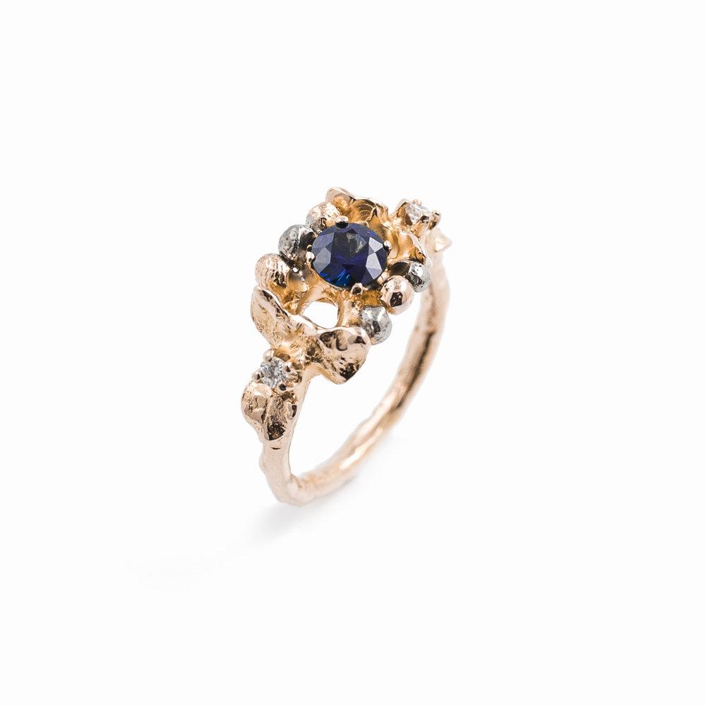 November Ring18ct rose gold,Australian blue sapphire, white diamonds
