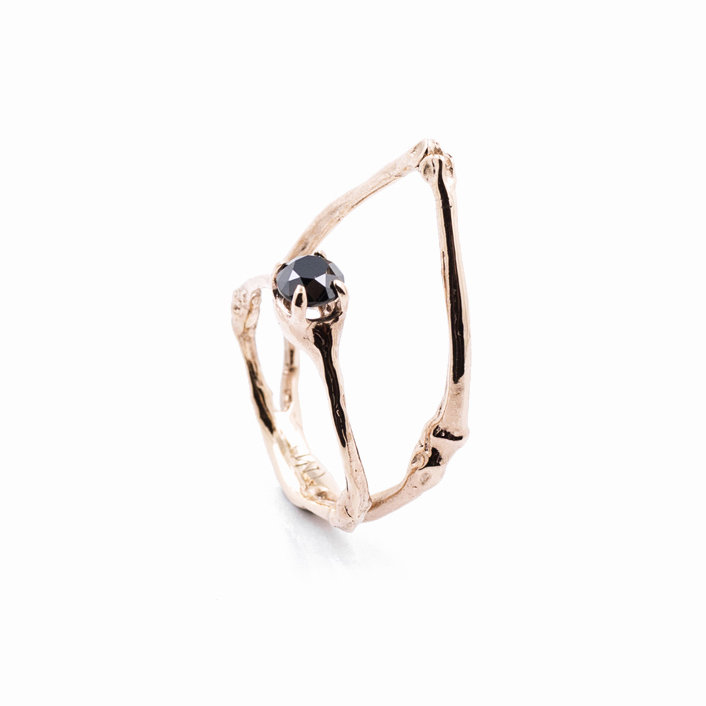 TOWERS Ring9ct rose gold, black diamond